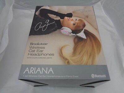 New In Box Ariana Grande Limited Edition Brookstone Wireless Cat Ear Headphones