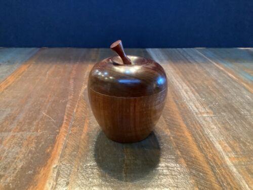Vintage Hand-Carved Wood Apple Trinket Box With lid/stem