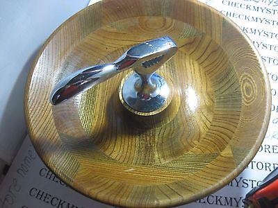VINTAGE Antique WOOD  NUTCRACKER BOWL Primitve Metal Nut CRACKER GOOD CONDITION