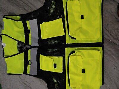 Neon Safety Vest Reflective Tape Pockets Mesh Nwot Hi Vis Small
