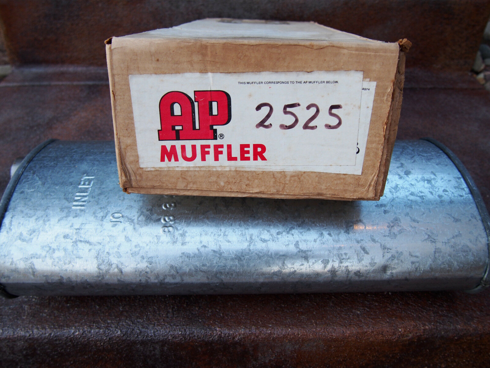 """Vintage Classic Car Muffler AP Universal 2"""" In Offset 2"""" Out Offset 21"""" Long NOS"""