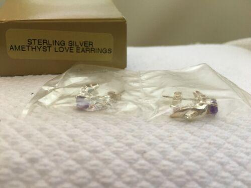 Vintage 1997 Avon Sterling Silver Amethyst Love Pierced Earrings