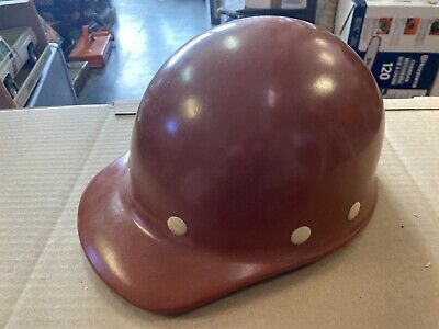 Vintage Superglas Fibre Metal Fiberglass Duck Bill Hard Hat Brown