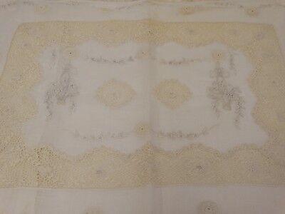 ANTIQUE IRISH CROCHET LACE BOUDOIR PILLOW Embroidered Floral Baskets 1900's