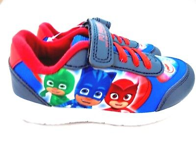 *SALE* BOYS NEW PJ MASKS TOUCH FASTENING TRAINERS PUMPS SHOES SIZE 5 - 10