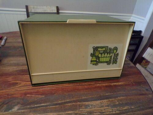 Vintage retro GREEN/CREAM COLORED BREAD BOX  Mid Century