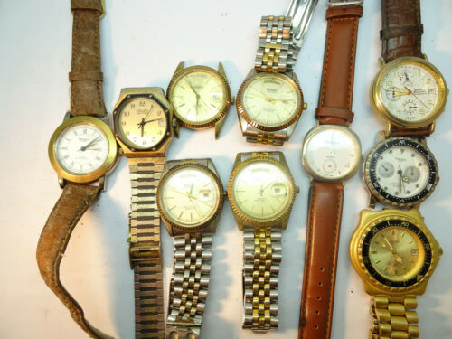 VINTAGE GRUEN QUARTZ WATCHES FOR RESTORATION PRESIDENT ALARM DIVERS