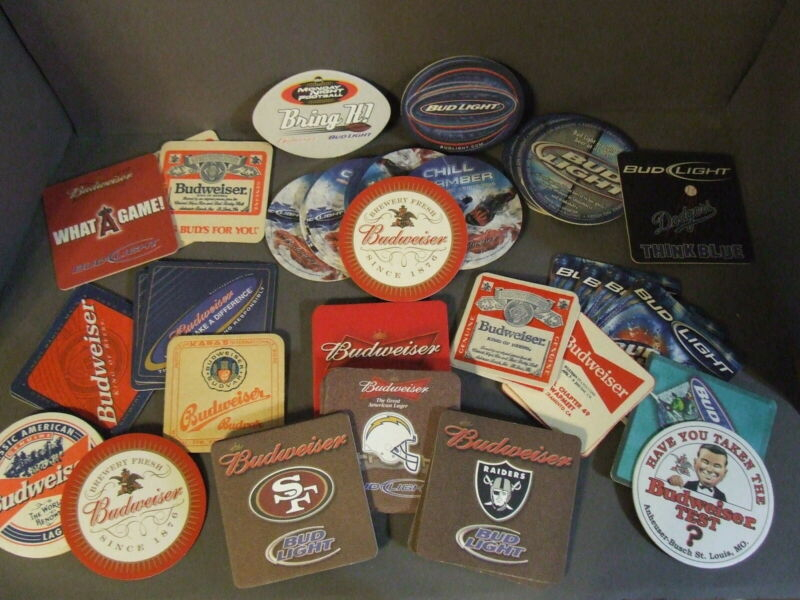 LOT OF 50 ANHEUSER BUSCH BUDWEISER, BUD LIGHT ADVERTISING BEER COASTERS