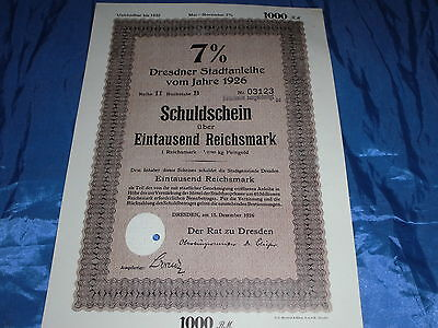 24 : histor.Wertpapier , Schuldschein / Stadtanleihe , Dresden, 15.Dezember 1926