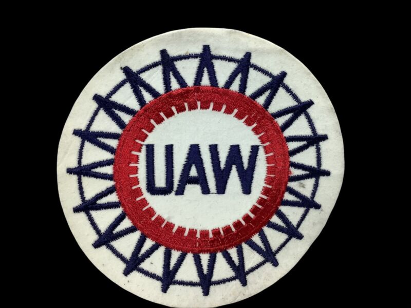 """Large Vintage UAW United Auto Workers Labor Union Cloth Patch 6"""" Across NOS A5"""