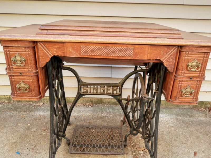 1890 Singer Sewing Machine Sphinx Decal Model 27 with 5 Drawer Treadle Cabinet