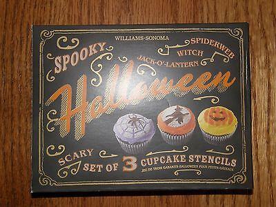 3 Designs-Williams Sonoma Halloween Cupcake Stencils-Witch,Pumpkin,Spider Web-Ne (Halloween Pumpkin Designs Spider)