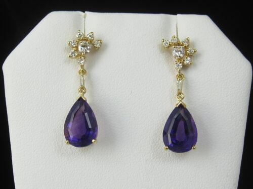 Amethyst Diamond Earrings Estate Drop Dangle 14K Yellow Gold Pierced Purple