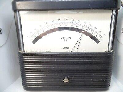 Weston Model 904 Ac Volt Meter Ranges 150 300 Vintage Tested Leather Handle