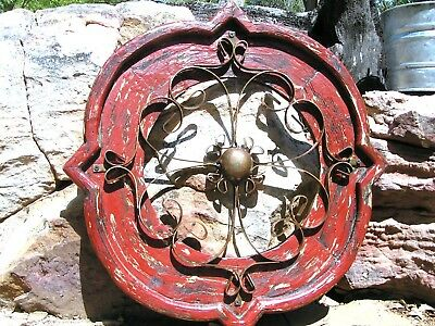 Round House Pediment Architectural Iron-Wood-Hand Painted Medallion Red 0361