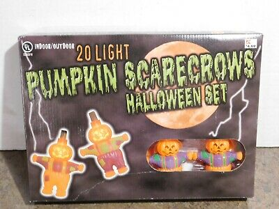 NOS NIB VTG 20 Pumpkin Scarecrow Halloween Blow Mold Plastic Light String Set