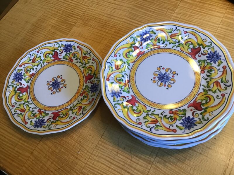 Sur La Table Floreale Melamine Set Of 8 Plates Italian Style Floral Dinnerware
