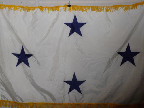 flag797 US Navy 4 Star Full Admiral White with Gold fringe not eligible Command