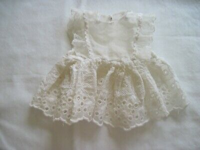 Cute Vintage White Organdy Doll Dress w/Eyelet Skirt