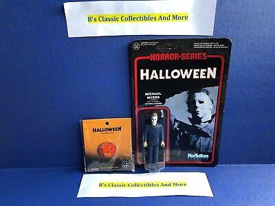 Halloween Michael Myers ReAction Horror Figure Funko Taped Pkg + Pumpkin Pin New (Michael Myers Pumpkin)