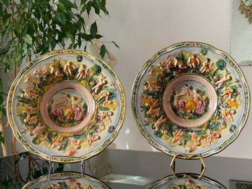 """Large Pair of Vintage Capodimonte Decorative Plate Italy, 13""""!"""