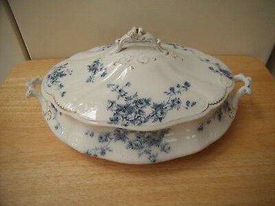 WH Grindley Marechal Neil England Ornate Blue Floral Dish Serving Bowl Lid Cover