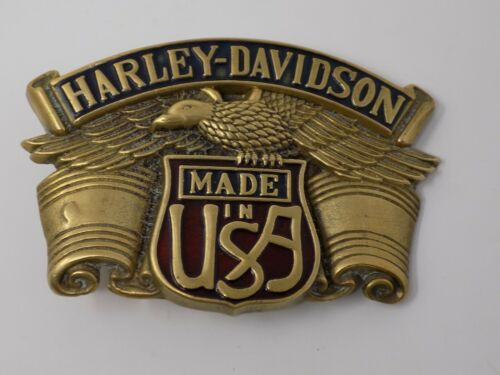 Vintage 1983 Solid Brass Harley Davidson Motorcycle Belt Buckle  Made in the USA