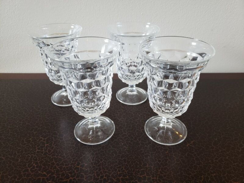 """Vintage fostoria""""American"""" stacked cube, clear set of 4 Ice tea/water glasses,"""