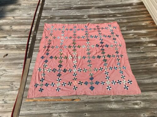 Antique Quilt TOP Pinwheel Red Blue and White SMALL PCS!! Homespun