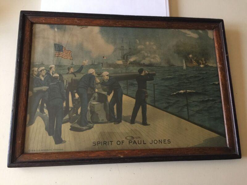 1918 E.G. Renesch Chicago WORLD WAR WW1 Poster Spirit of paul jones estate sale