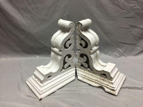 Pr Antique White Roof Corbels Shelf Brackets Shabby Vtg Chic Cornice 7-19M