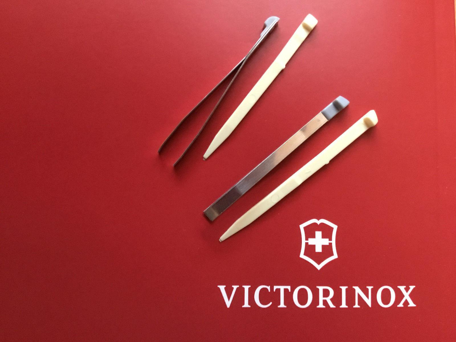 2 Paar Zahnstocher und Pinzette Victorinox schweizer Taschenmesser gross u klein