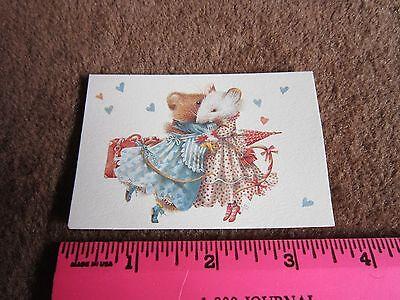 VERA THE MOUSE Bianca Hugging MARJOLEIN BASTIN,ITTY BITTY GREETING CARD Hallmark