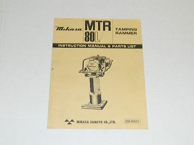 Mikasa Mtr-80l Tamping Rammer - Instruction Manual Parts List