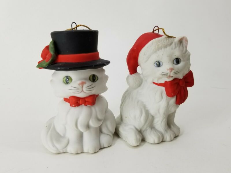 Ebeling Reuss Sri Lanka 2pc Porcelain White Winter Christmas Cute Cat Mr Mrs Set