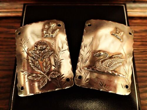 Swan and Swallow Antique Victorian Silver Plated Bracelet Panels Aesthetic Era