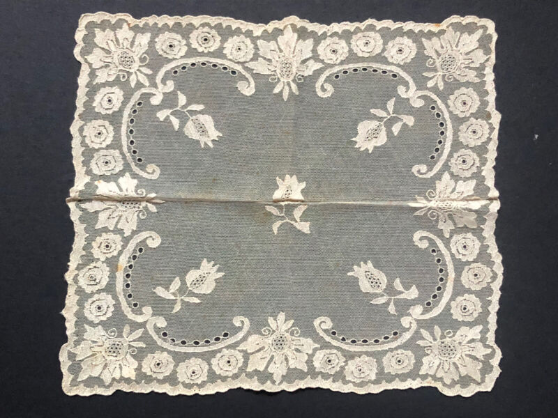 RARE! Antique INTRICATE *CHANTILLY Lace CREAM Off White Vintage SQUARE 1880's