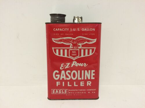 Vintage Eagle E-Z Pour Gasoline Filler 1 Gallon Gas Can - Red