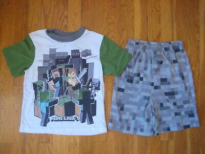 Minecraft SHORTS PAJAMAS SET pjs t shirt boy kid Mojang Steve Creeper zombies M](Minecraft Pajamas Kids)