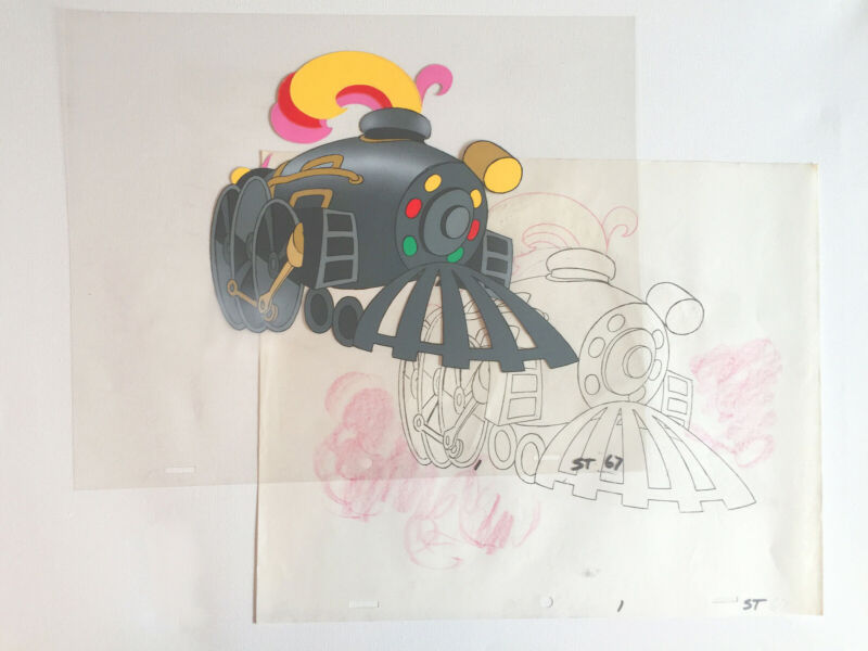 Original SOUL TRAIN Opener Production cel and matching drawing 1970s fr67 in seq