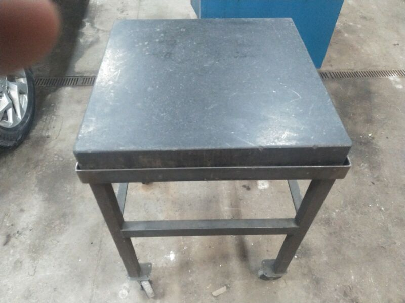 Granite surface plate 24 by 24 4inch thickness with cart