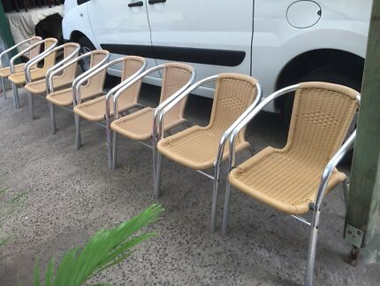 8 x stackable aluminium framed outdoor chairs Free Delivery