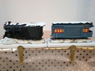 Two Hallmark Polar Express Train Christmas Stocking Hangers Engine + Caboose