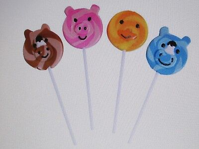 12 FARM ANIMAL SUCKERS lollipops candy pig duck horse + BIRTHDAY PARTY favors