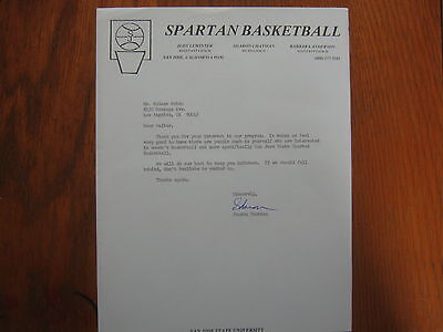 SHARON CHATMAN  Signed Personal  Letter SAN JOSE STATE  Lady Spartans Head Coach