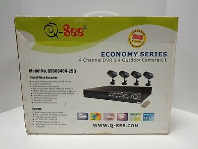 QSee Economy Series 4-Channel DVR & 4 Outdoor Camera Kit /w 250GB Sata HDD 250 Gb Dvr