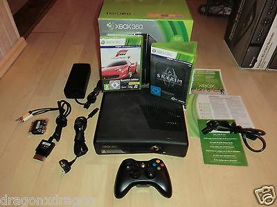 Microsoft XBOX 360 Slim, 250GB, in OVP, inkl. Forza 4 & Skyrim V, 2J. Garantie