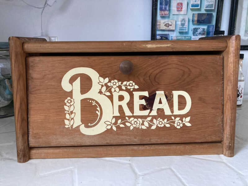 Vintage Solid Oak Wood Bread Box Carved Rustic Floral Country Kitchen