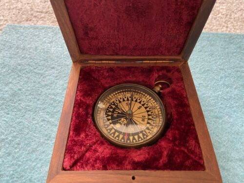 Vintage Made in London Compass with Wooden Case