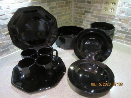 Vintage Arcoroc France Black Octagon Shape - 13 Pieces! Excellent!!